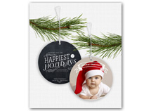 Holiday Greetings Chalkboard Photo Ornament Cards